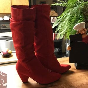 Rue 21 Red Faux Suede Slough Boots Size 7